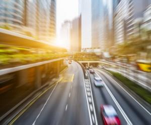 blurred urban traffic in city,Hong Kong,china.